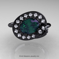 Art Nouveau 14K Black Gold 1.0 Ct Oval Alexandrite Diamond Nature Inspired Engagement Ring R296A-14KBGDAL