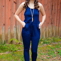 Just Relax Jumpsuit - Blue - Final Sale
