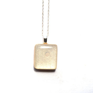 Pearl white square pendant necklace wood necklace earth day eco friendly bridesmaid jewelry fall jewelry starlightwoods