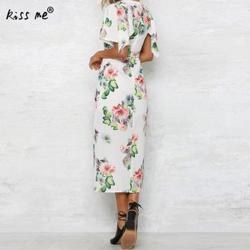 DKLW8 white deep V front slit Dress floral print tunics for beach cover ups robe de plage sheer cover up dress pareo praia beach tunic