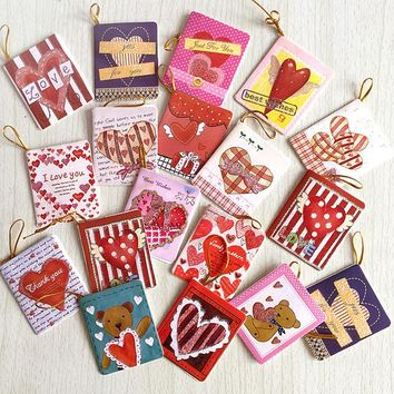 Valentine day greeting message thankful paper card party decoration hanging tag