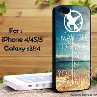 Hunger Games Quote may the odds be ever in your favor ocean beach iPhone 4, iPhone 4s, iPhone 5, Samsung Galaxy S3, Samsung Galaxy S4 Case