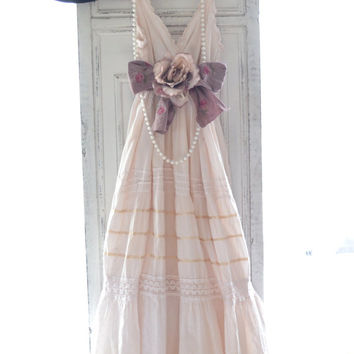 Spring Maxi dress, Romantic country chic blushing nude sundress, Boho chic dresses, Shabby cottage chic slip dress, True rebel clothing