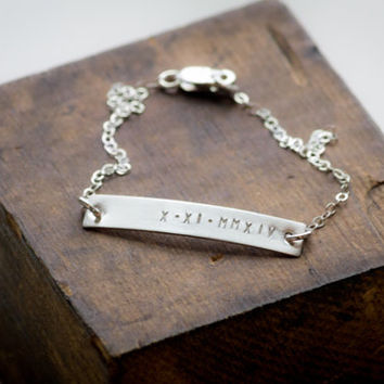 Sterling Silver Bar Bracelet / Personalized Nameplate / Customized Roman Numerals Hand Stamped / Rose Gold and 14 Kt Gold Fill Available