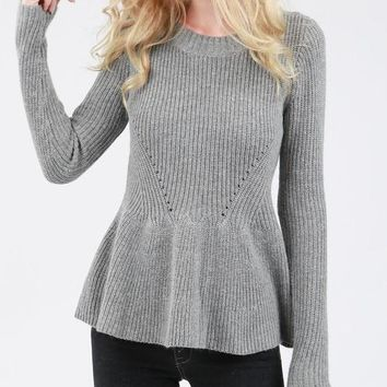 Knit Peplum Sweater /2 colors