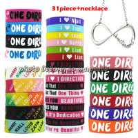 31pcs 1D ONE DIRECTION silicone Bracelet one direction necklace