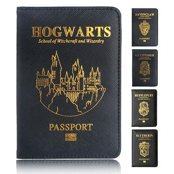 TRASSORY Multifunctional Rfid Blocking Harry Potter Passport Cover Leather Hogwarts Gryffindor Ravenclaw Passport Holder Case