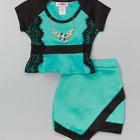 Citlalis Choice Jade & Black Top & Skirt - Girls | zulily