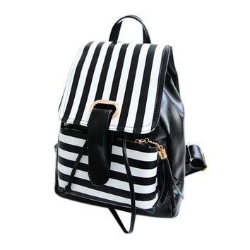 Women's Leather Striped Travel Satchel