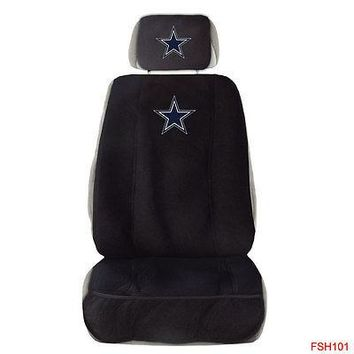Licensed Official New NFL Dallas Cowboys Car Truck Front Seat Cover with Head Rest Cover