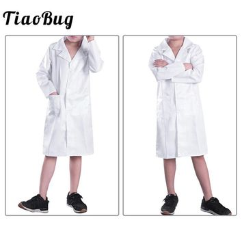 TiaoBug Unisex Kids Boys Girls Long Sleeve Lapel Doctor Uniform Cosplay Costume Lab Coat for Halleween Children Role Play Outfit