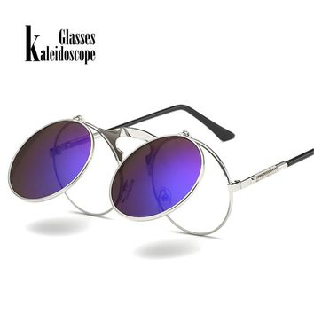 Kaleidoscope Glasses Men Round Steam Punk Sunglasses Metal Frames Steampunk Glasses Retro Spectacles Sunglass for Women