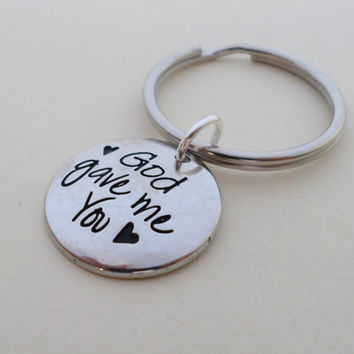 God Gave Me You Keychain, Couples Keychain, Husband Wife, Girlfriend Boyfriend, Best Friend, Daughter Son Mom Dad, Mother's, Birthstones