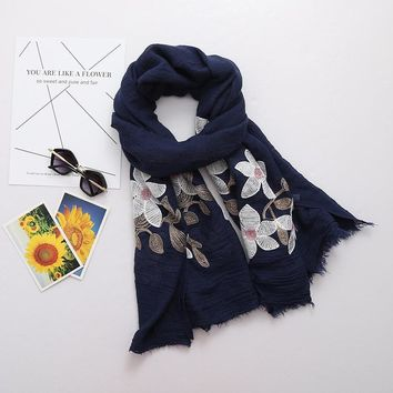90*180 long big size embroidered scarf floral viscose shawl ethnic japanese Bandana hijab scarves for Ladies women high quality