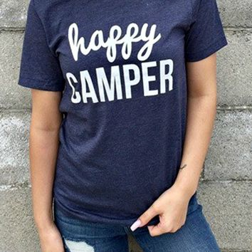 Happy Camper Navy Graphic Tee