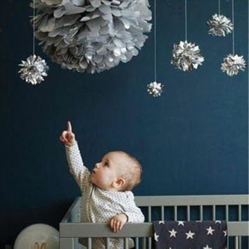 ac NOOW2 10pcs/set 6'8'10' Metallic Gold/Silver  Tissue Paper Pom Poms - Hanging Decorations For Wedding Party Festival Decor