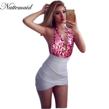 Sexy Sequins bodysuits 2017 Australia Summer Vocational beach wear One piece Short Rompers Pink  Jumpsuit Outfits