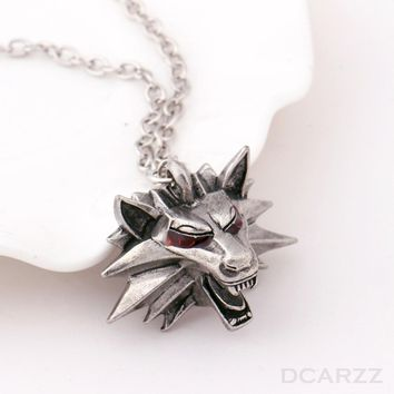 Wizard Witcher 3 Medallion Necklace Wolf Head Pendant Wild Hunt Figure Game Cosplay Jewelry Top Quality Gothic Collar