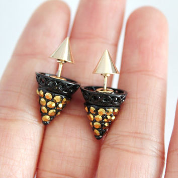 Glitter cone double sided earrings, double earrings, cone earrings, spiky earrings, glitter spike earrings, edgy earrings