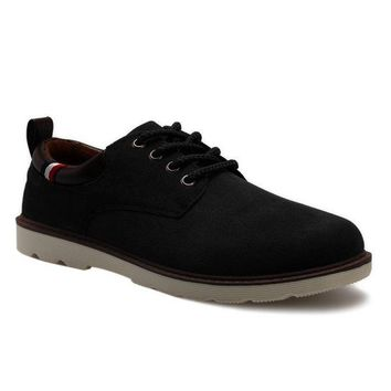 Suede Eyelet Casual Shoes - Black 44