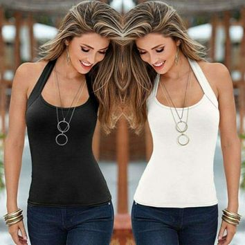 Sexy Women Summer Vest Tops Halter Neck Sleeveless Blouse Shirt Tank Tops S-XL