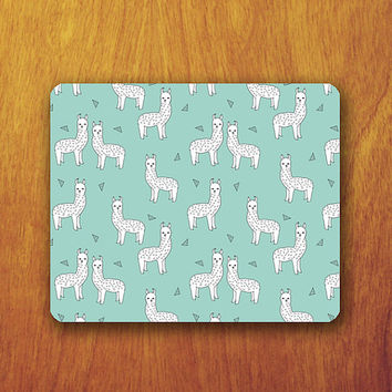 Alpaca Cartoon Mouse Pad Mint Pattern Abstract Office Desk Accessory Decoration Gift Teacher Gift