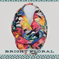 Floral and Stripe Infinity Scarf: Black & White and Multicolor Flower, Bohemian Indie Vintage Style Loop Scarf, Pretty, Cute Womens Scarf