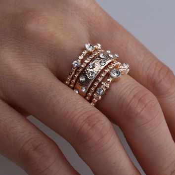 Fashion Crystal Rose Gold Stackable Sparkly Boho Rings  5 Pcs/Set
