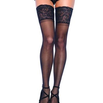 DCCKLP2 5 in Lace Lycra Sheer Stay Up Thigh Hi PLUS SIZE BLACK