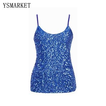 Summer new sequined strap vest 2017 hot sexy backless slim fit women tank tops solid club wear female bandage underwear SX031