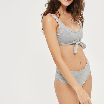 **Knot Front Bikini Crop Top by Evil Twin | Topshop