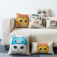 Cartoon Meow Star Sofa Pilowcase Cotton Linen Cushions Decorative Pillow Home Decor Sofa Throw Pillows 45*45 Animal Pillow