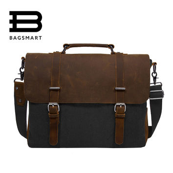 BAGSMART 2017 Men's Shoulder Bags Canvas Leather Briefcase Vintage Satchel School Shoulder Messenger Bags Fits 15'' Laptop Bag