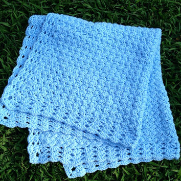 Hand crochet Baby Blanket - light blue baby boy baby afghan in a lightweight original pattern - ready to ship