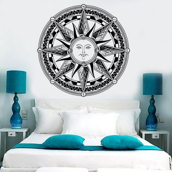 Vinyl Wall Decal Sun Wind Rose Compass Nautical Kids Room Stickers Unique Gift (ig3641)