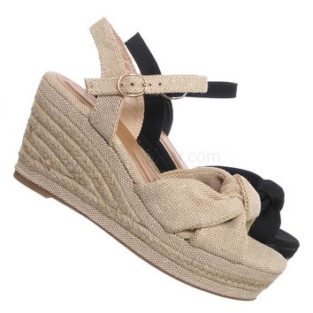 Belle04 Espadrille Linein Platform Wedge Sandal - Women Jute Rope Braid Shoes