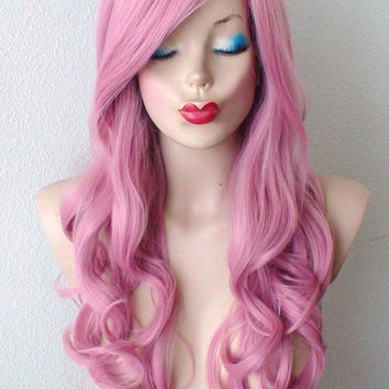 Pastel Mauve Pink hair  wig. Blush pink color curly hairstyle High quality Heat resistant synthetic wig for Daily use or Cosplay.