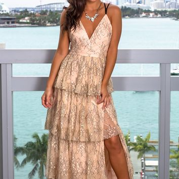 Blush and Black Lace Maxi Dress