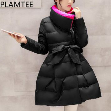 Turtleneck Down Jacket For Pregnant Women Lace-up Bowknot Maternity Coats  Thick Long Sleeves Coats