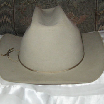 Vintage Westerner Double X  mens gray fedora rancher  hat   size 7 Hand creased