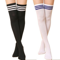 Hot Thigh High Sexy Cotton Socks Women's Striped Over