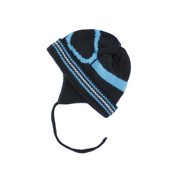 Deux Par Deux BoysSki Goggle Visor Winter Ski Hat Black Blue Tuque with Ear Flaps Size 2-6 Years