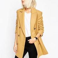 ASOS | ASOS Peacoat With Double Breast In Wool Mix at ASOS
