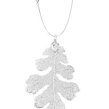 Real Leaf PENDANT with Chain Lacey OAK Dipped in Silver Genuine Leaf Necklace
