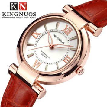 Fashion Rose gold Dial Women Watches Luxury Romantic Leather Quartz Ladies Dress Watch Girls Clock Relogio Feminino Waterproof