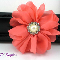 Coral chiffon fabric flower with pearl rhinestone center - Large coral flower for headbands and hair clips - coral wedding flower