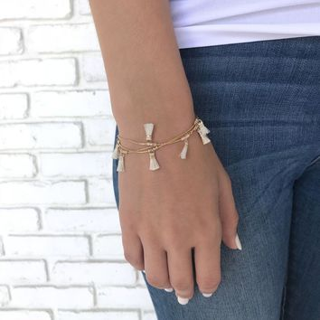 Small Crush Tassel Bracelet in Gold=