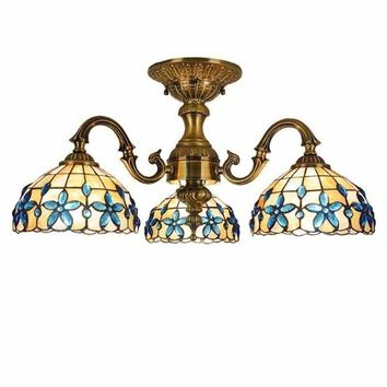 Blue Flower Bowel Tiffany Chandelier Shell Cover Surface Mounted Ceiling Light European Mediterranean Hanging Lamps