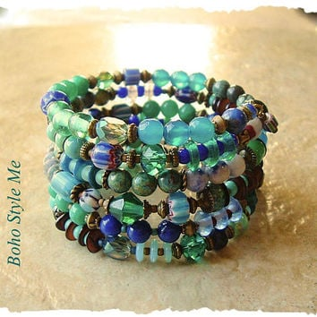 Boho Layered Bracelet, Turquoise and Teal, Colorful Gypsy Queen, Bohemian Beaded Bracelet, Boho Style Me, Kaye Kraus