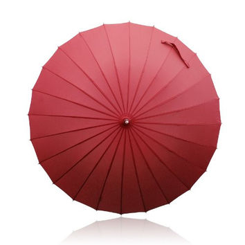 Becko Manual Open & Close Umbrella Long Umbrella with 24 Ribs, Durable and Strong Enough for the Wind and Rain, Easy to Carry on Your Back By Its Own Bag - Red